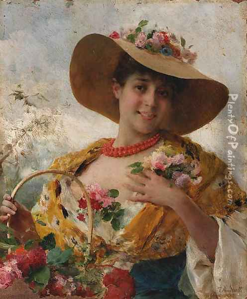 The flower girl Oil Painting - Federico Andreotti