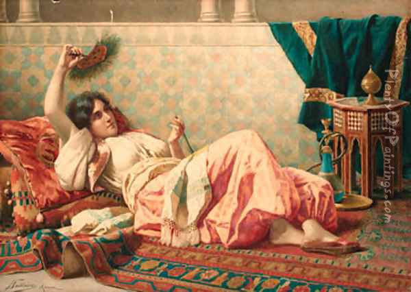 A reclining oriental beauty Oil Painting - Federico Ballesio