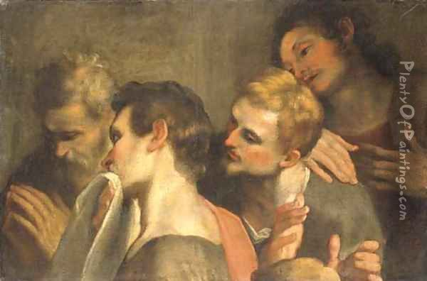 The heads of four disciples at the Last Supper Oil Painting - Federico Fiori Barocci