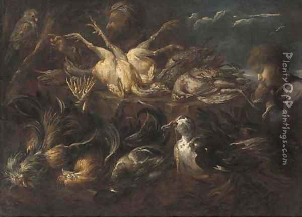 A falconer and his falcon, a duck with wheat in its beak, a sleeping boy and dead game in a landscape Oil Painting - Felice Boselli