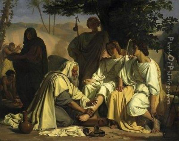 Abraham And The Three Angels. Signed And Dated Bottom Right: F. Fossey 1854 Oil Painting - Felix Fossey