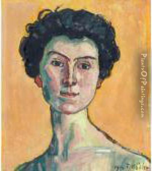 Portrait Of Clara Pasche-battie Oil Painting - Ferdinand Hodler