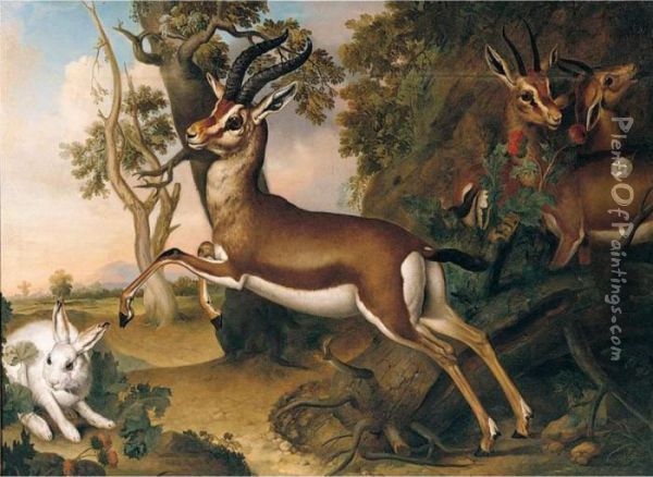 Antelope With A Hare In A Landscape Oil Painting - Ferdinand Phillip de Hamilton