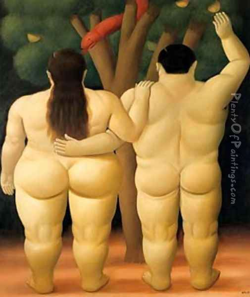 Adam and Eve Oil Painting - Fernando Botero