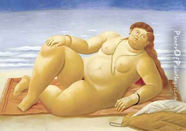 At The Beach Playa Oil Painting - Fernando Botero