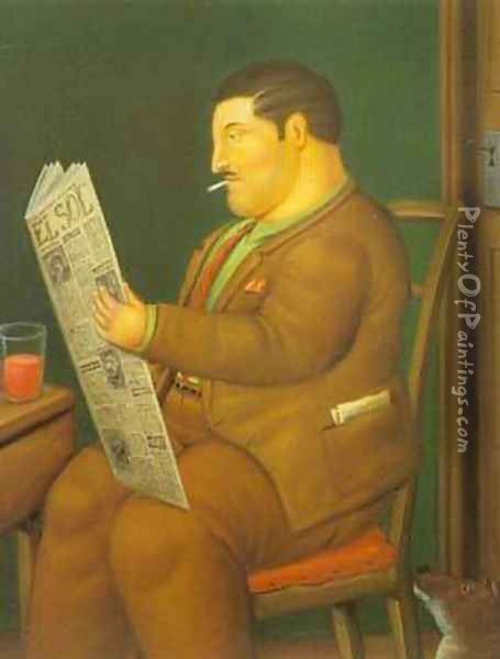 Man Reading a Paper 1996 Oil Painting - Fernando Botero