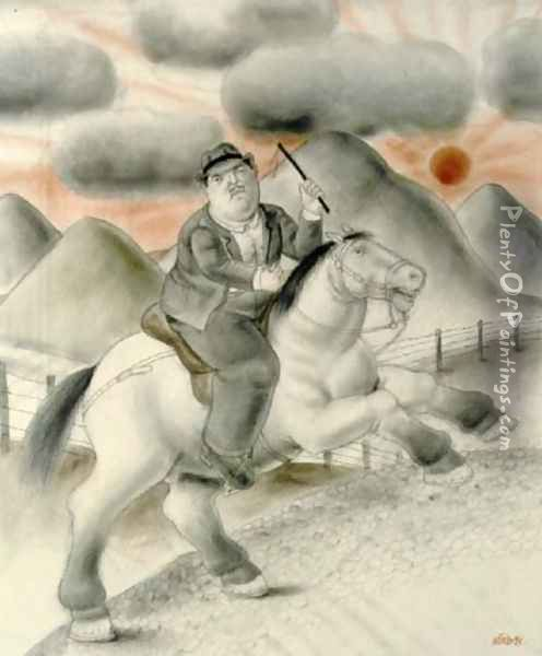 Man To Horse Oil Painting - Fernando Botero