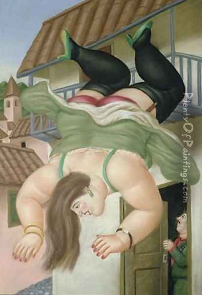 Over the Balcony Oil Painting - Fernando Botero