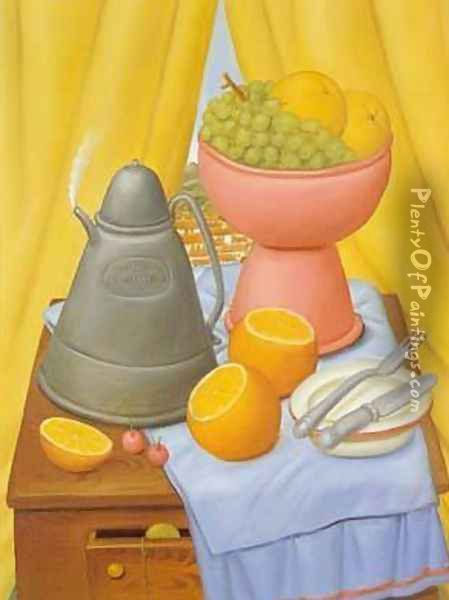 Still Life With Coffee Pot 1985 Oil Painting - Fernando Botero