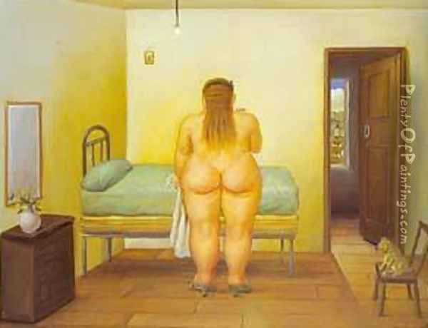 The Bedroom 1996 Oil Painting - Fernando Botero