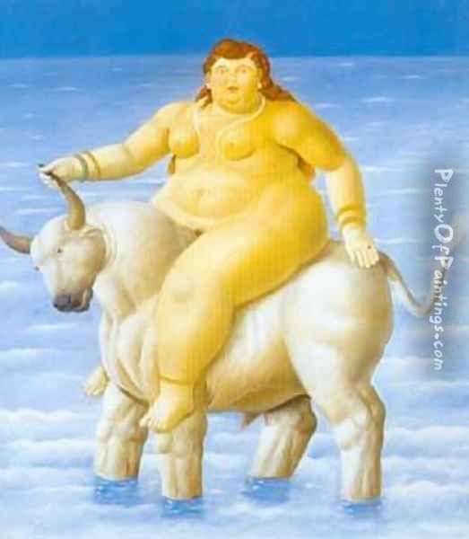 The Rape of Europa 1998 Oil Painting - Fernando Botero