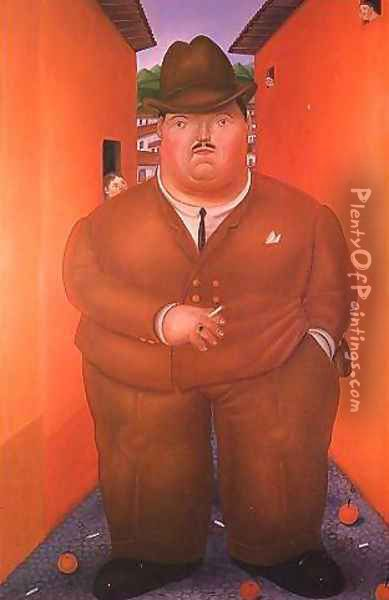 The Street Oil Painting - Fernando Botero