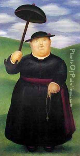 Walk Through The Hills Oil Painting - Fernando Botero