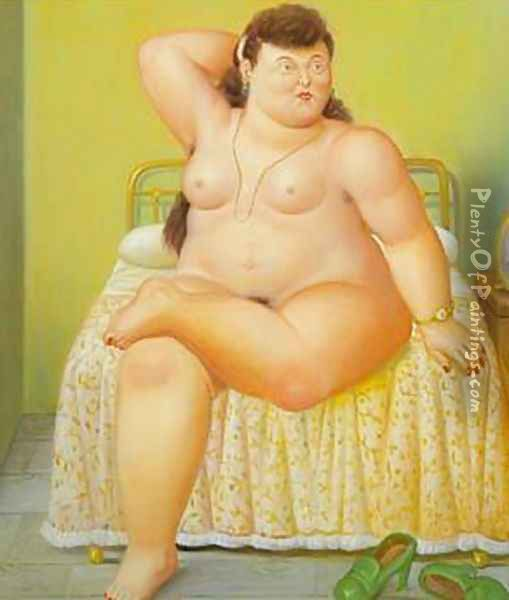 Woman on a Bed 1995 Oil Painting - Fernando Botero