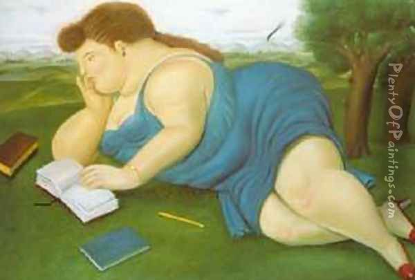 Woman with a Book 1987 Oil Painting - Fernando Botero