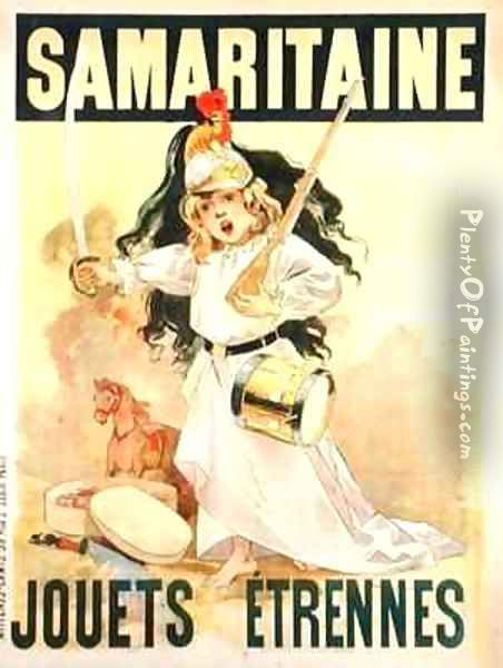 Poster advertising toys for sale at 'La Samaritaine' Oil Painting - Firmin Bouisset