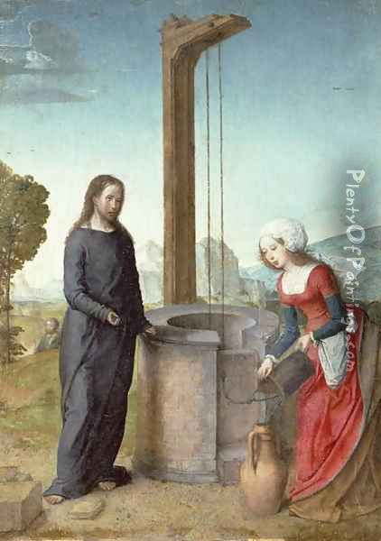 Christ and the Woman of Samaria Oil Painting - Flandes Juan de