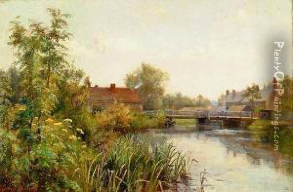 River Landscape With Cottages By A Bridge, Signed Oil Painting - Florence Fitzgerald