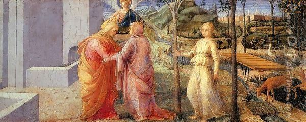 Meeting of Joachim and Anna at the Golden Gate Oil Painting - Fra Filippo Lippi