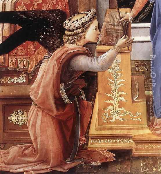 The Annunciation with two Kneeling Donors (detail-1) c. 1440 Oil Painting - Fra Filippo Lippi