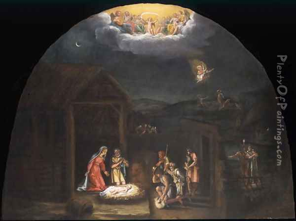 Landscape with the Adoration of the Shepherds Oil Painting - Francesco Albani