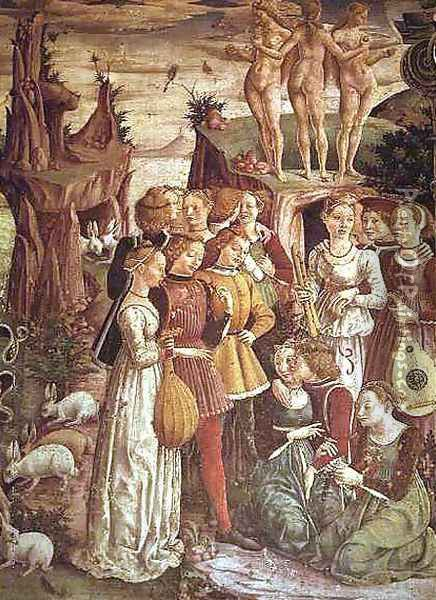 The Triumph of Venus, April from the Room of the Months (detail) c.1467-70 Oil Painting - Francesco Del Cossa