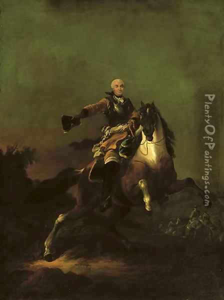 A soldier, said to be Hermann Moritz, Count of Saxony (1696-1750), in armour and ochre coat, on a rearing horse in a hilly landscape, cavalry beyond Oil Painting - Francesco Giuseppe Casanova