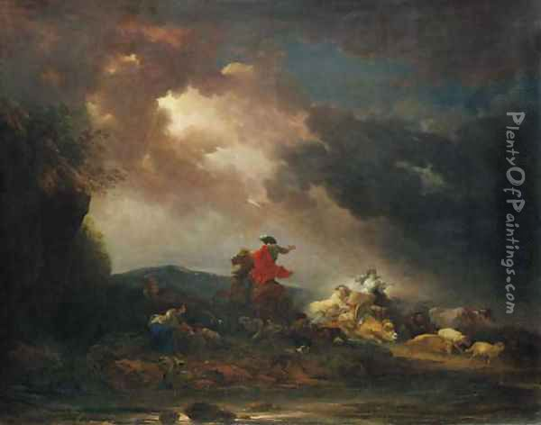 A stormy landscape with a horseman and a woman riding an ox, by a river Oil Painting - Francesco Giuseppe Casanova