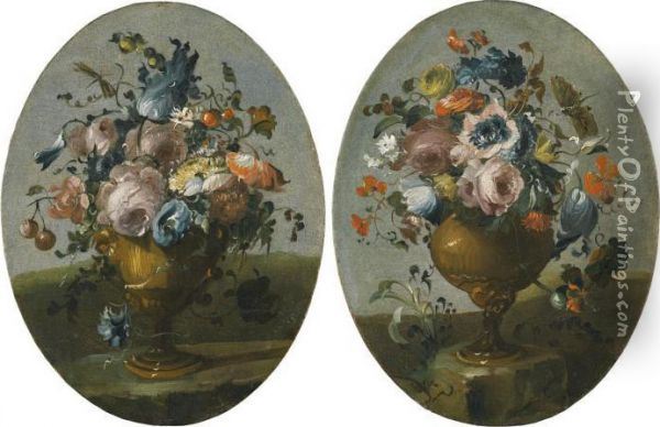 A Pair Of Still Lifes Of Roses, 