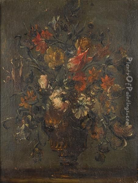 Tulips, Chrysanthemums, Roses  And Convolvulus In A Bronze Urn; And Roses, Tulips And Convolvulus In A  Bronze Urn Oil Painting - Francesco Guardi