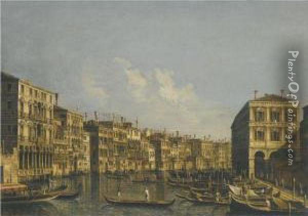 Venice, A View Of The Grand Canal Looking Towards Thepescheria Oil Painting - Francesco Tironi