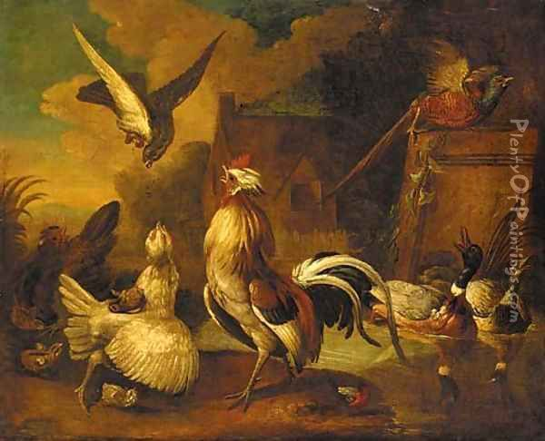 A hawk attacking a cockerel, with chickens Oil Painting - Francis Barlow