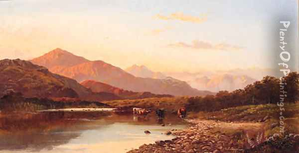 Cattle watering in a mountainous River Landscape Oil Painting - Francis Sydney Muschamp