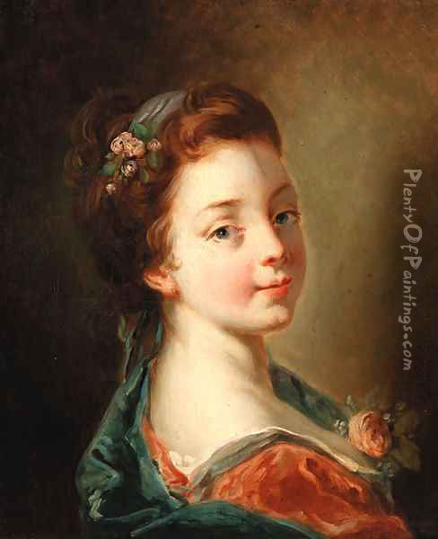 A girl with flowers in her hair Oil Painting - Francois Boucher