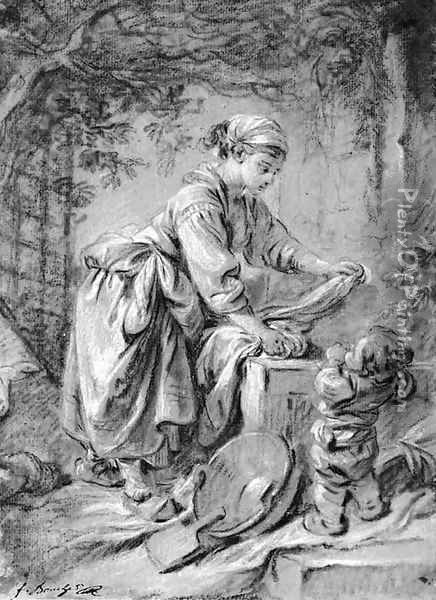 A washerwoman at a fountain with a child under a trellis Oil Painting - Francois Boucher