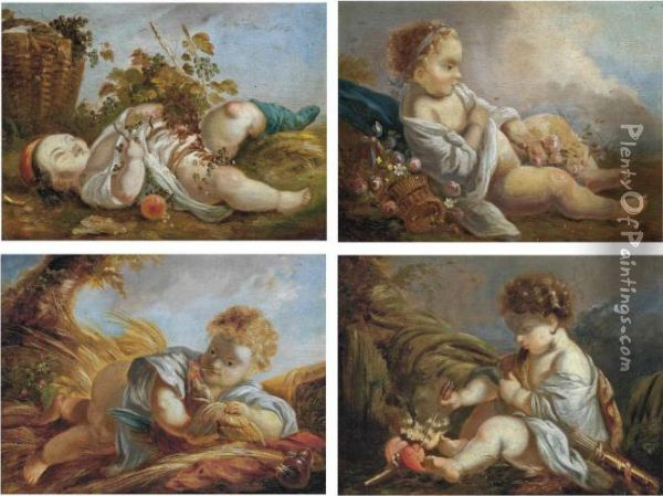 The Four Seasons: Spring, Summer, Autumn, Winter Oil Painting - Francois Boucher