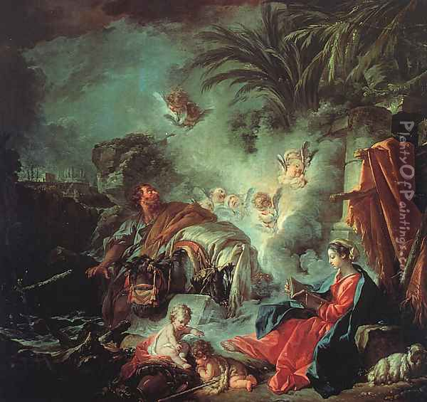The Rest On The Flight Into Egypt Oil Painting - Francois Boucher