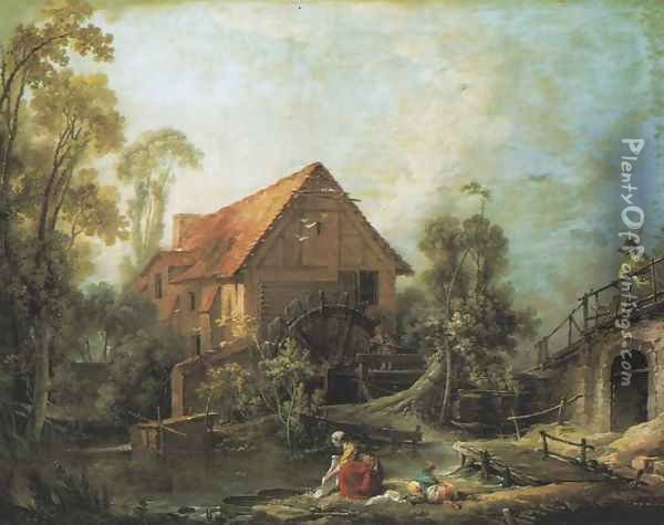 Watermill Oil Painting - Francois Boucher