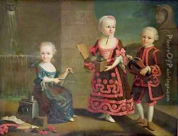 A Girl with a Marmoset in a Box Girl with Triangle sitting on a Magic Lantern and a Boy with a Hurdy Gurdy Oil Painting - Francois-Hubert Drouais
