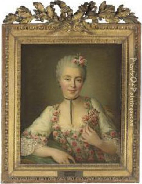 Portrait Of A Lady Said To Be Mlle. Dore, Half-length, In A Whitedress With Pink Roses Oil Painting - Francois-Hubert Drouais
