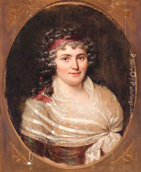 Portrait of Jeanne Robertine, Marquise d'Orvillier, nee Rillet (1772-1862), half-length, in a lace fichu and a red bandeau Oil Painting - Francois-Xavier Fabre