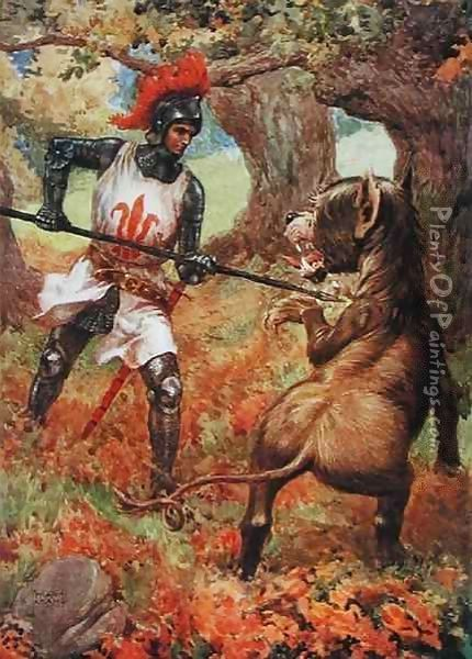 'Sir Calidore and the Blatant Beast' from 'The Faery Queen' Oil Painting - Frank Adams
