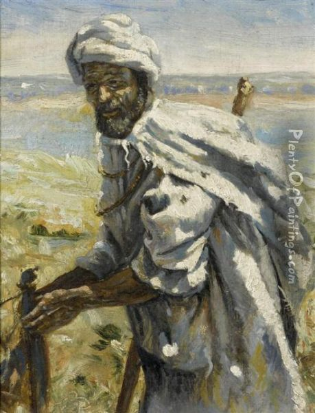 Bedouin Before A River Oil Painting - Frank Buchser