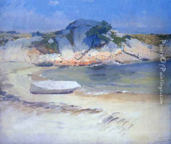 Sheltered Cove Oil Painting - Frank Duveneck
