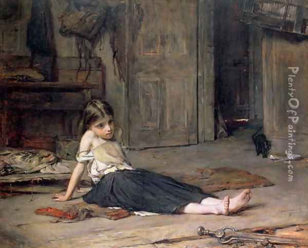 Girl by the Fireside Oil Painting - Frank Holl