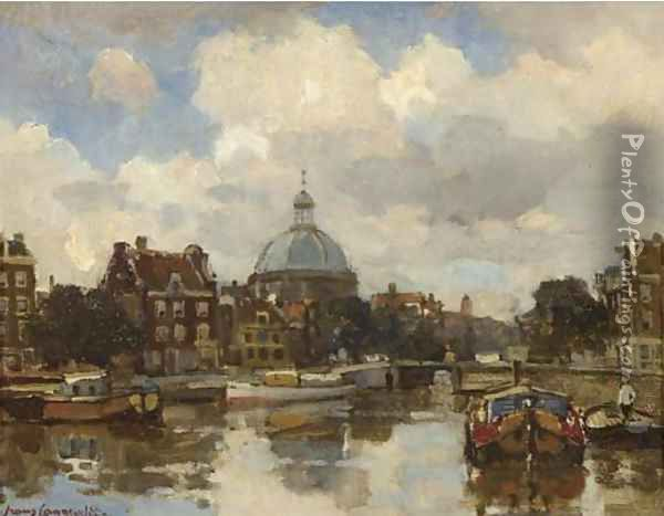 A view on the Lutherse kerk, Amsterdam Oil Painting - Frans Langeveld