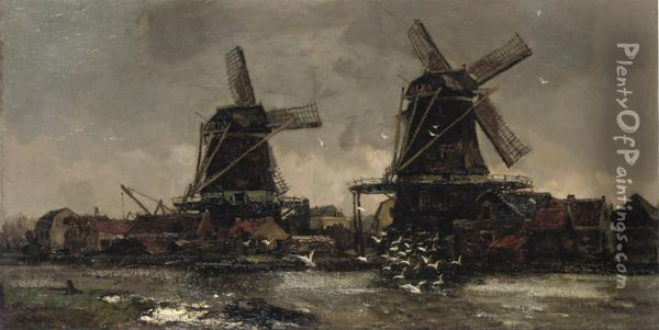 Two Windmills Along A River Oil Painting - Frans Langeveld