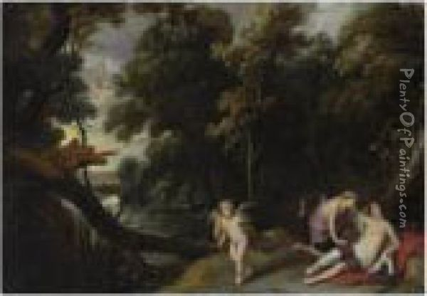 A Forest Landscape With Jupiter,  Disguised As Diana, Bending Overthe Reclining Callisto, An Eagle And  Cupid Nearby Oil Painting - Frans Wouters