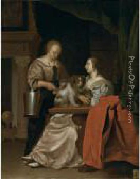 An Interior With A Maid, A Lady And Her Two Dogs Oil Painting - Frans van Mieris