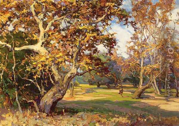 View of the Arroyo Seco from the Artist's Studio Oil Painting - Franz Bischoff